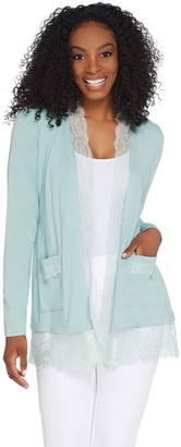 Logo By Lori Goldstein LOGO by Lori Goldstein Cotton Modal Open Front Cardigan w/Lace