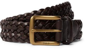 Polo Ralph Lauren 3cm Dark-Brown Woven Leather Belt