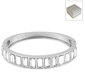 Kenneth Cole Crystal Baguette Hinged Bangle Bracelet in a Gift Box