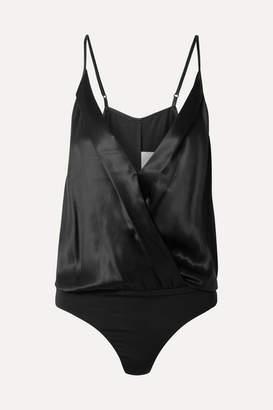 Michelle Mason - Wrap-effect Silk-charmeuse Bodysuit - Black