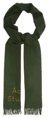 Acne Studios Skinny Logo Wool Twill Scarf - Womens - Green