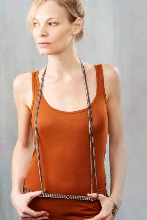 Louise Manna Suspender Body Necklace in Silver and Black