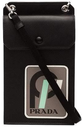 Prada black calf leather clutch
