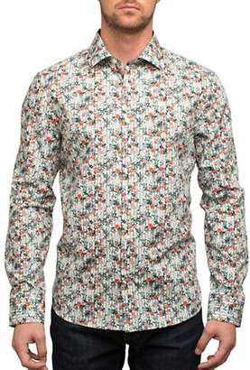 English Laundry Busy Floral Pinstripe Cotton Casual Button-Down Shirt