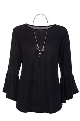 Quiz Black Glitter Frill Necklace Top