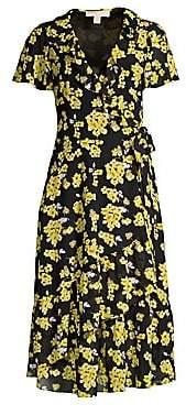 MICHAEL Michael Kors Women's Ruffled Floral Midi Wrap Dress