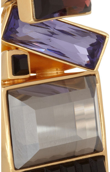 Etro Gold-plated Swarovski crystal two-finger ring