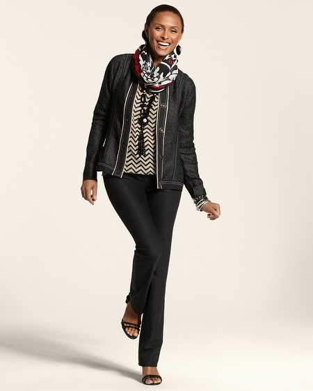 Chico's Textured Piped Jacket