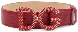 Dolce & Gabbana crystal embellished logo buckle belt