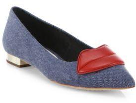 Alice + Olivia Kaylee Lips Denim Flats $295 thestylecure.com