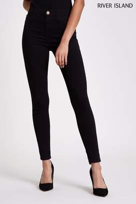 River Island Womens Black Molly Mid Rise Jeans Long Leg - Black