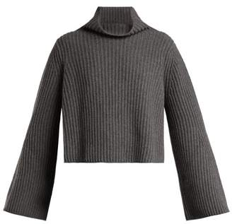 Stella McCartney Roll Neck Cashmere Blend Ribbed Sweater - Womens - Grey