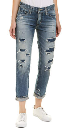 AG Jeans The Ex-Boyfriend 19 Years Quilted Blue Mended Slouchy Slim Leg
