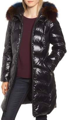 1 Madison Water Repellent Down & Feather Coat with Genuine Fox Fur Trim