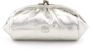 Il Bisonte Metallic Leather Clasp Cosmetic Bag