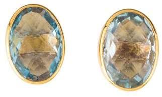 18K Topaz Oval Stud Earrings