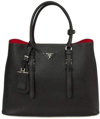 Prada Double Handle Leather Bag 1BG820 F0002 | Color Black