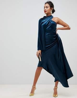 Asos EDITION asymmetric drape dress in velvet