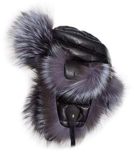 The Fur Salon Fox Fur& Leather Trapper Hat