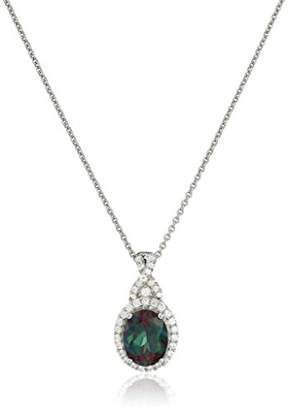 Sterling Silver Created Alexandrite Oval with Created White Sapphire Pendant Necklace