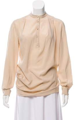 3.1 Phillip Lim Collarless Long Sleeve Blouse