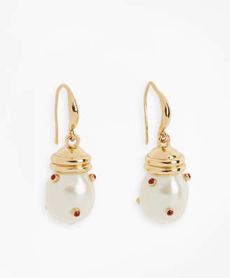 Brooks Brothers Gem-Studded Pearl Drop Earrings