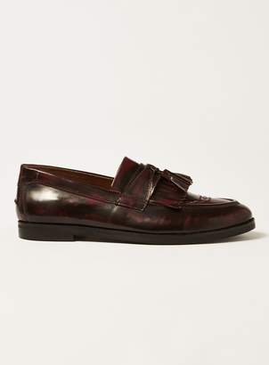 Topman HOUSE OF HOUNDS Burgundy Leather Archer Tassel Fringe Loafers