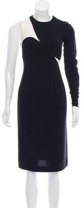 Stella McCartney One-Sleeve Mesh-Accented Dress