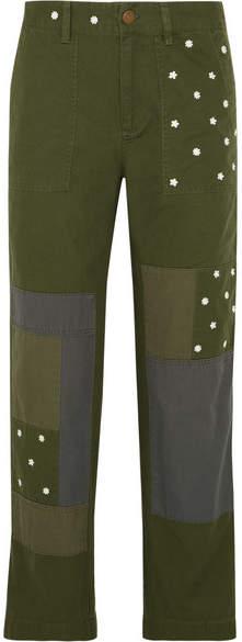J.Crew - Geller Embroidered Patchwork Cotton Straight-leg Pants - Dark green