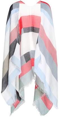 Maje Frayed Striped Cotton And Modal-Blend Poncho