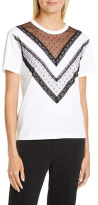 RED Valentino Point d'Esprit & Lace Trim Tee
