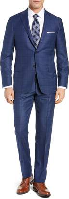 Hickey Freeman Classic Fit Windowpane Wool & Cashmere Suit