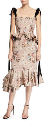 Brock Collection Dylan Floral Tapestry-Jacquard Peplum Dress