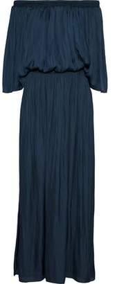 Halston Off-the-shoulder Shirred Charmeuse Maxi Dress
