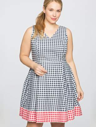 Draper James for ELOQUII Gingham Blocked Fit and Flare Dress