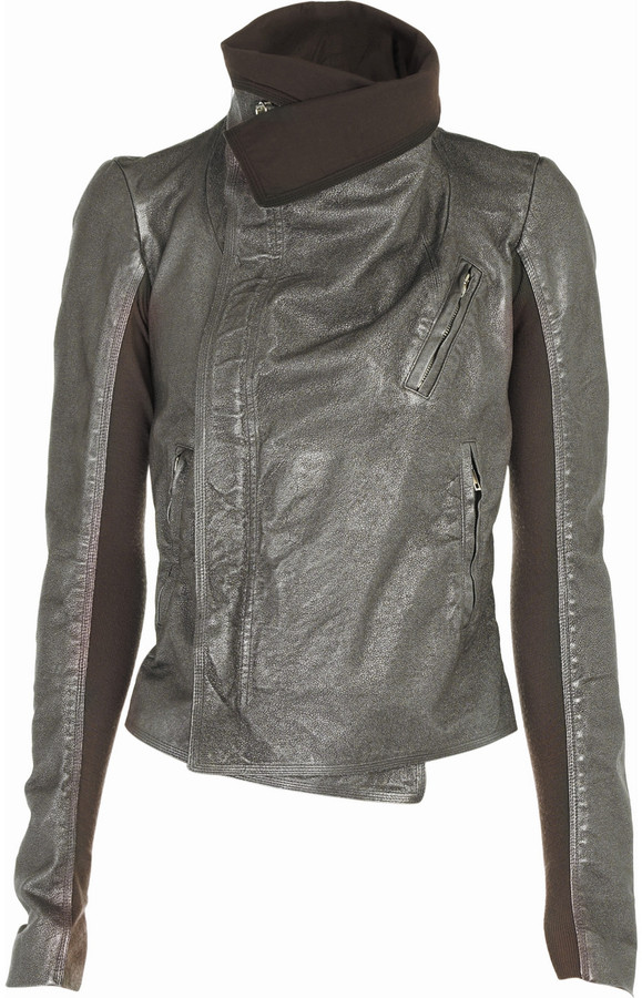 Rick Owens Metallic leather biker jacket