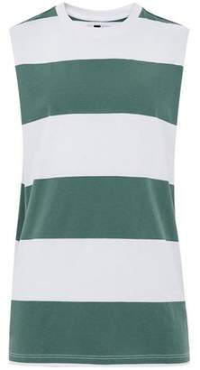 Topman Mens Green Stripe Tank