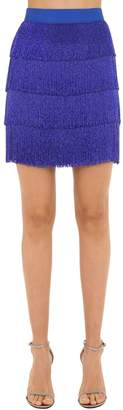 Alberta Ferretti Beaded Fringe Crepe De Chine Skirt