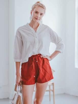 Goodnight Macaroon 'Luciana' Sheer Oversized Quarter Sleeve Blouse