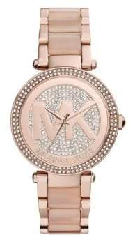 Michael Kors Rose Gold Tone and Blush Mini Parker Watch with Logo Dial MK6176