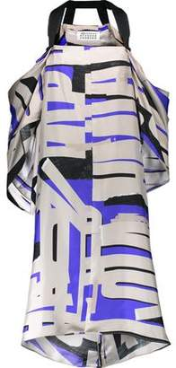 Maison Margiela Cold-Shoulder Draped Printed Silk-Twill Dress