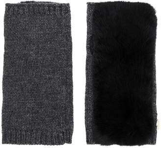 Yves Salomon fox fur trim gloves