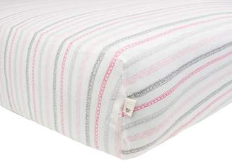 Burt's Bees Baby - Batik Stripes Fitted Sheet, 100% Organic Sheet for Standard and Toddler Mattresses (Blossom)