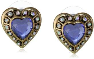 "Betsey Johnson Imperial Princess"" Crystal Heart Stud Earrings"