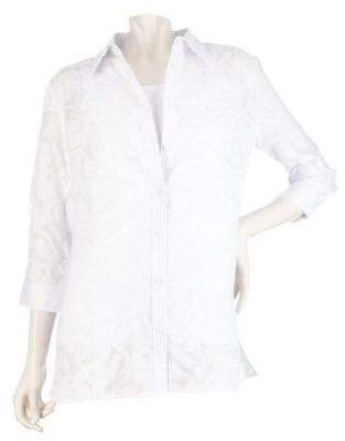 Liz Claiborne New York Abstract Floral Burnout Tunic with Shell