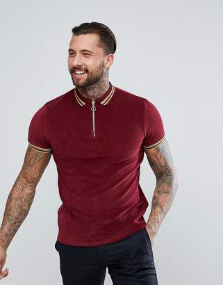 Asos DESIGN Polo Shirt In Towelling With Gold Metallic Tipping