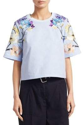 3.1 Phillip Lim Floral Elbow-Sleeve Top