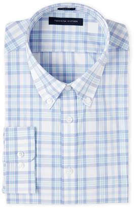 Isaac Mizrahi Azure Plaid Slim Fit Dress Shirt