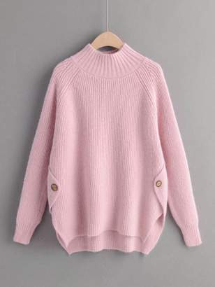 Shein Mock Neck Raglan Sleeve High Low Hem Sweater