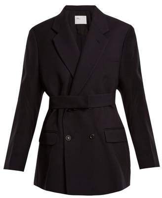 Toga Double Breasted Wool Twill Jacket - Womens - Navy